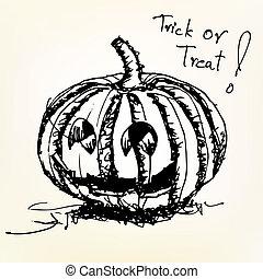 Effrayant, croquis, rigolote, griffonnage, halloween, mal ...