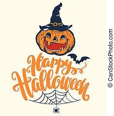 halloween, vecteur, lettering., heureux