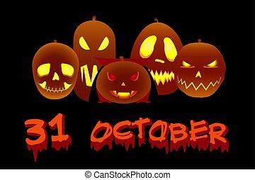 halloween, vecteur, potirons, vacances, nuit, illustration, sinistre
