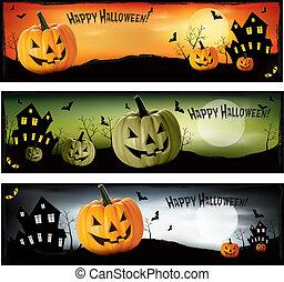 halloween, vecteur, trois, bannières