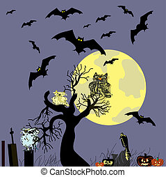 Halloween vector background with owls and bats