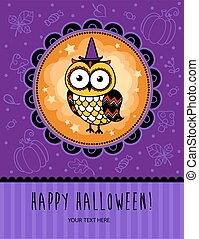 Halloween vector card with owl.