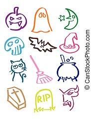 Halloween Vector Cartoon in Colorfu - Vector cartoon...