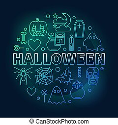 Halloween vector creative round Holiday outline illustration
