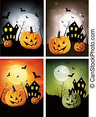halloween, vector., cztery, banners.
