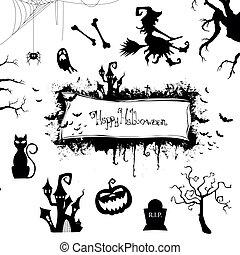 halloween, vector, diseñe elementos