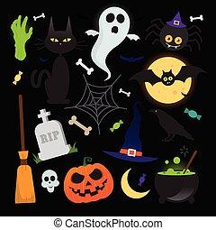 Halloween vector elements icons set