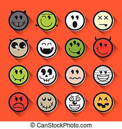 Halloween vector emoticon icon set collection