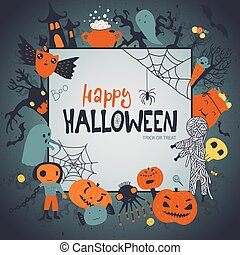 Halloween vector frame, poster or greeting card with cute cartoon characters