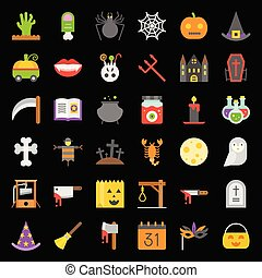 Halloween vector icon set elements, flat design