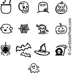 Halloween vector icon set. Vector Illustration