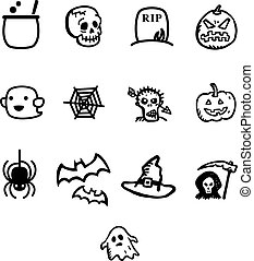 Halloween vector icon set. Vector Illustration