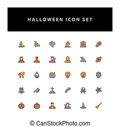 Halloween vector icon set with filled outline style design