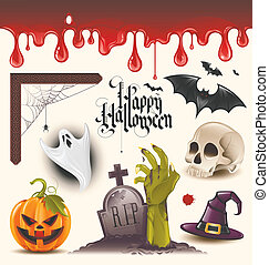 halloween, vector, iconen