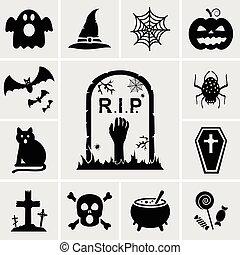 halloween, vector, iconos