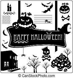 Halloween vector icons set.