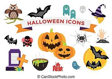 Halloween vector icons set. Pumpkin head, witch broom, candy...