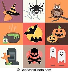 Halloween vector icons set