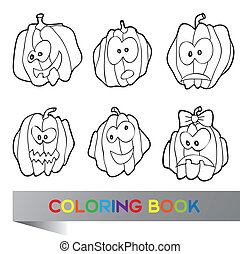Halloween vector illustration - coloring book