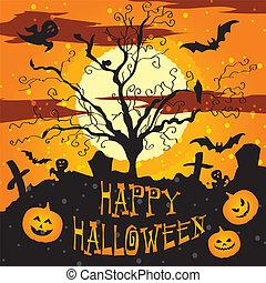 Halloween vector illustration Graveyard Poster night...