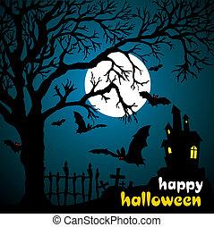 Halloween vector illustration scene