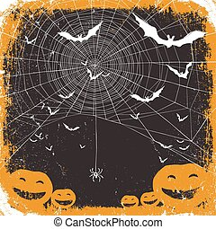 Halloween vector illustration. Spider web, pumpkins and bats