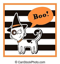 Halloween vector illustration with cat.