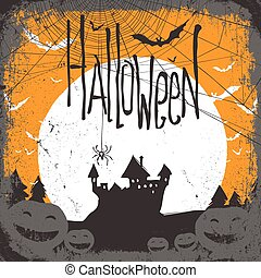 Halloween vector illustration with haunted castle