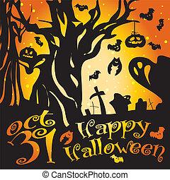 halloween, vector, ilustración, cementerio