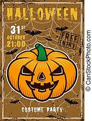 Halloween vector invitation poster with pumpkin
