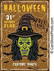 Halloween vector invitation poster with witch head