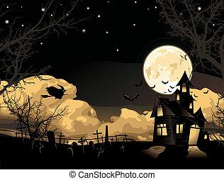 halloween, vector., karte