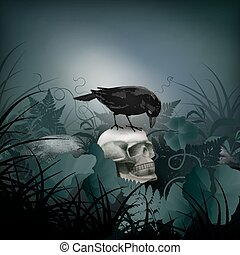 Halloween vector night scene with skull, black Raven, stones and fern