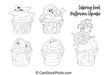 Halloween capkake vector objects set coloring book.