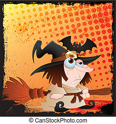Halloween Vector of Dumb Witch Lady - Abstract Creative...