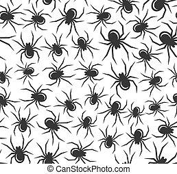 halloween, vector, pattern., spinnen, seamless