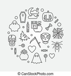 Halloween vector round modern illustration. 31 October Holiday poster in thin line style