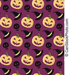 Halloween vector seamless pattern with pumpkins in trendy flat style