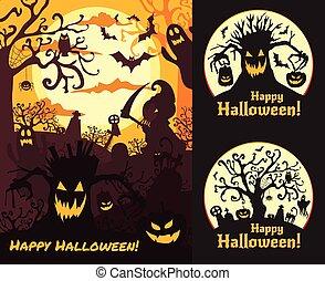 Halloween vector set illustration posters