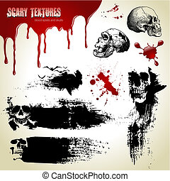 Halloween vector set: scary textures, skulls and blood