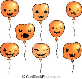 Halloween vector set with spooky orange holiday balloons with faces with different expressions