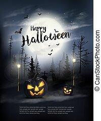 halloween, vector., zucche, pauroso, moon., fondo