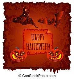 halloween, vector.eps, hanté, château, citrouille, heureux