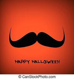 halloween, vektor, bakgrund, stående, mustasch, pumpa