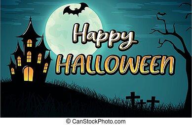 halloween, vektor, design, bakgrund, lycklig