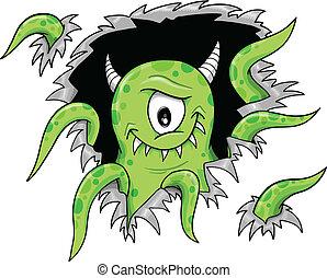 halloween, vektor, monster, grün