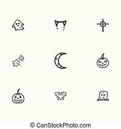 halloween, vektor, sätta, ikonen