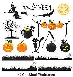 halloween, vektor, sätta, illustration