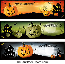 halloween, vektor, tre, baner