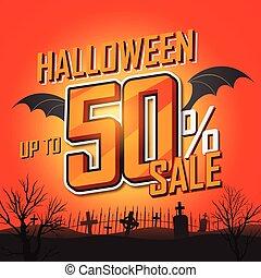 halloween, venta, banner., vector, ilustración